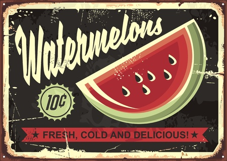 Watermelons retro advertise with watermelon slice on dark, black background Ilustrace