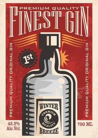 Finest gin retro poster ad with gin bottle on old paper texture