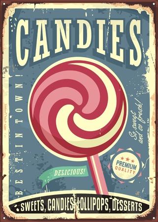 Lollipop retro vector sign design on old metal texture