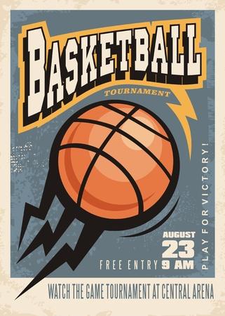 バスケット ボール トーナメント レトロ ポスター デザイン テンプレート