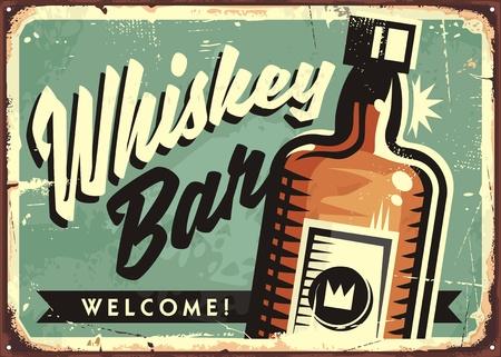 古いさびた金属を背景に芸術のレタリングやウイスキーのボトルと独創的なアイデア