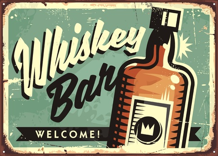 Creative idea with artistic lettering and whiskey bottle on old rusty metal background
