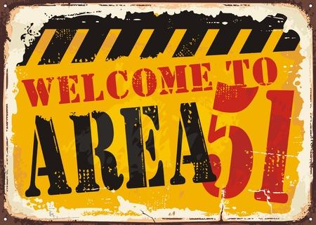 지역 51 복고 도로 표지 개념에 오신 것을 환영합니다 일러스트