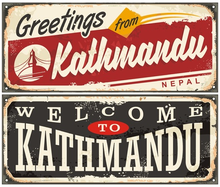 Welcome to Kathmandu, retro tin signs set with popular travel destination in Nepal