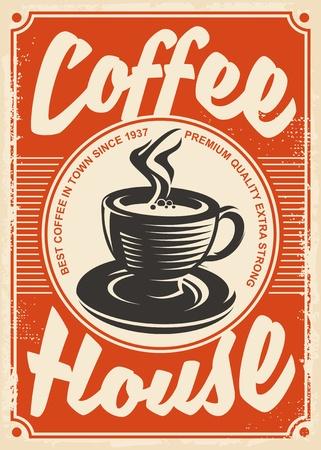 café maison rétro affiche design avec tasse de café sur fond rouge