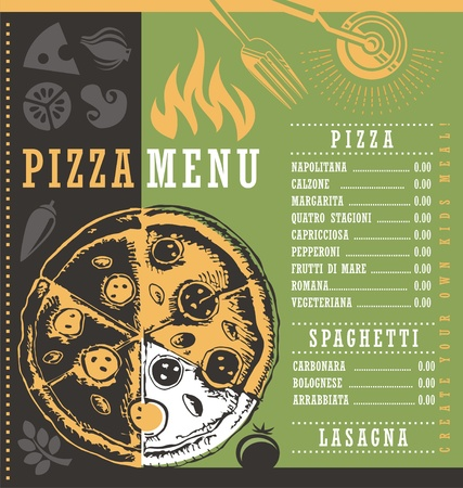Pizza menu document print template with pizza drawing and pizzeria related design elements Illustration