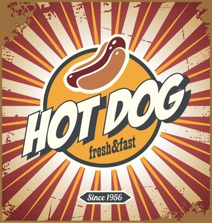 Hot Dog Comic-Stil Werbe retro Zeichen Design Standard-Bild - 83241590
