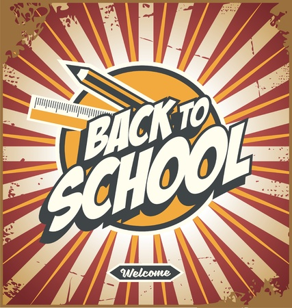 Back to school promotional poster design template with school accessories and creative typography