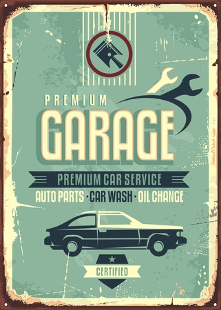 Premium car service retro poster design with creative typography and car side view on old damaged metal background