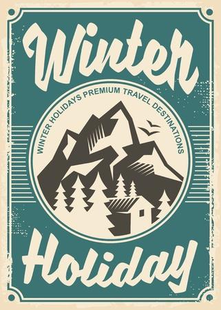 겨울 휴가 여행 목적지, 복고풍 포스터 디자인.