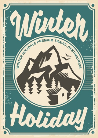Winter holidays travel destinations, retro poster design.
