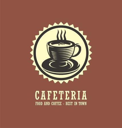 Cafetaria logo ontwerpconcept met kop koffie tekening