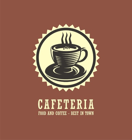 Cafeteria logo design concept with cup of coffee drawing Stok Fotoğraf - 83628332