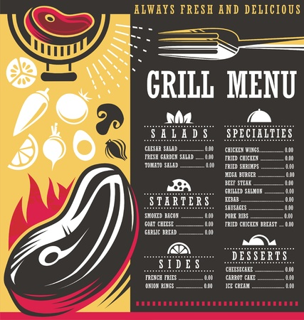 Restaurant menu creative concept with grilled meat on fire and food related design elements and graphic resources