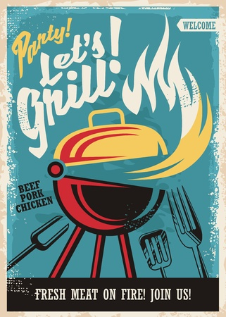 Barbecue grill party poster template 일러스트