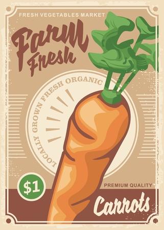 Carrots organic farm food vegetables retro poster design