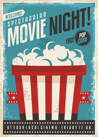 Movie cinema night retro poster design. Popcorn graphic with film strip entertainment brochure template.