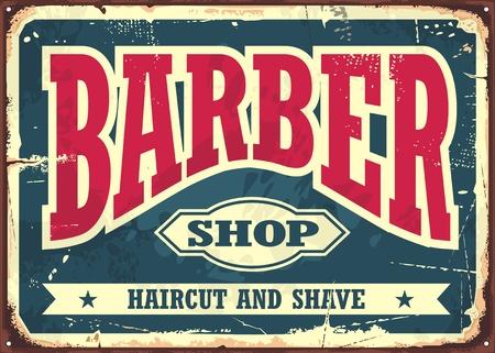 Friseurladenhippie-Haarschnitt und Rasurweinlese unterzeichnen Schablone. Barbershop Retro-Plakat-Layout. Vektorgrafik