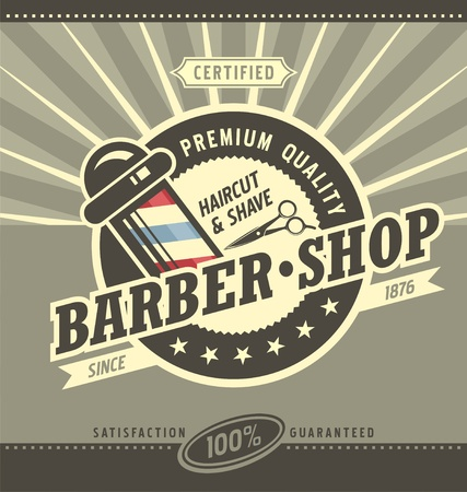 Barber shop hipster vintage sign template. Barbershop retro poster  or banner design. Çizim