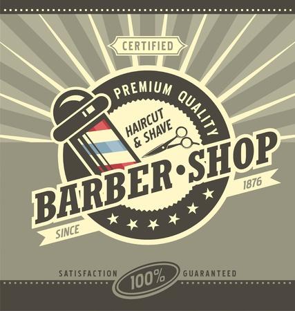 Kapper winkel hipster vintage bord sjabloon. Barbershop retro poster of banner design.