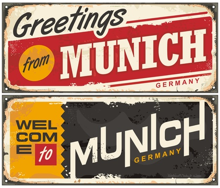 Munich Germany travel souvenir sign template. Greetings from Munich. Welcome to Munich.