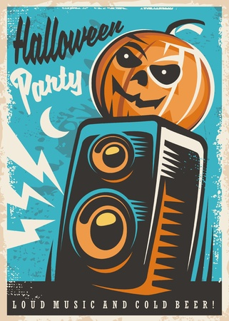Halloween party invitation design. Retro poster with Halloween pumpkin and sound speaker.