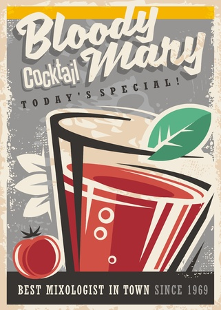 Cocktail bar with glass and Bloody Mary cocktail on old paper texture. Alcoholic drinks vintage promotional design