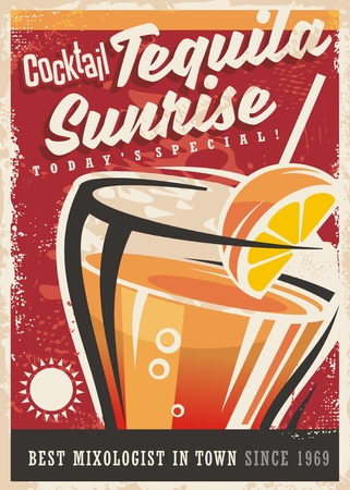most popular: Cocktail tequila sunrise retro promotional poster design, Vintage art banner with one of the most popular cocktails on red background