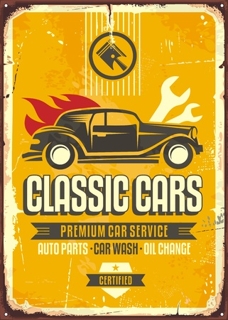 Vintage cars old worn sign. Classic cars retro poster with old vehicle on yellow background. Illustration