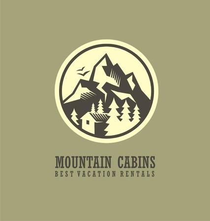 マウンテン キャビン レンタル ラウンド山の風景と木造キャビンのロゴのテンプレート  イラスト・ベクター素材