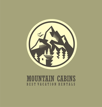 Mountain cabins and rentals round logo template with mountain landscape and wooden cabin