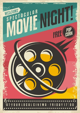 Movie poster design with film roll on colorful background. Retro banner concept for movie festival. Vintage cinema advertising.