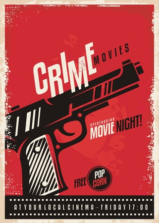 Crime movies poster design template with gun on red background