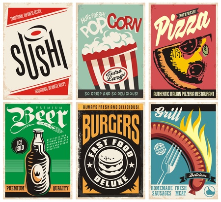 Food and drink posters collection. Pizza, popcorn, burgers, grill, beer and sushi. Illustration
