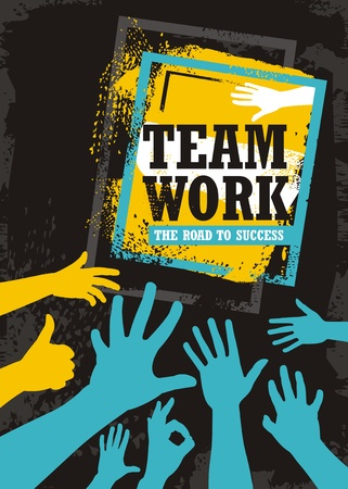 Teamwork business banner design. Typography quote with hand silhouettes and motivational message. Illustration