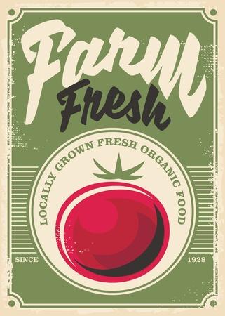 Het vintage posterontwerp van de tomaatboerderij