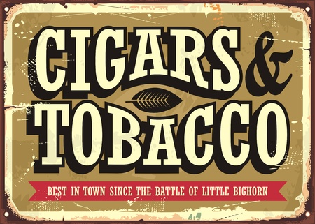 Cigars and tobacco vintage sign concept with creative typo on old golden background Çizim