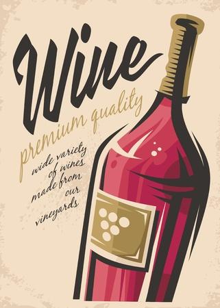 Wine poster illustration on a pink background.