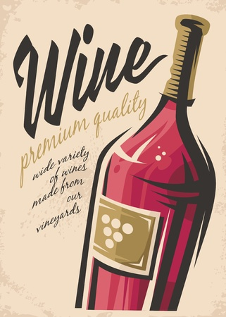Wine poster illustration on a pink background.
