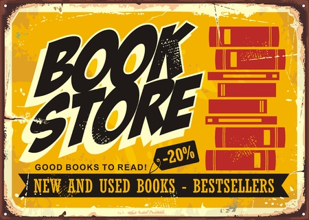 Book store vintage sign, retro poster template.