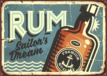 Rum vintage tin sign. Retro poster with bottle of alcoholic drink.