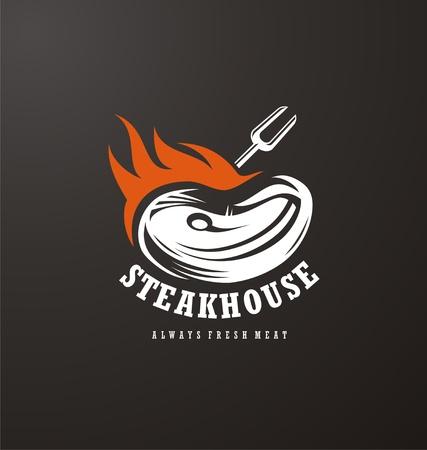 Steak house logo design. Fresh meat on fire creative symbol concept