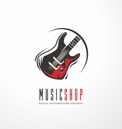 Music shop logo design concept with electric guitar in circle. Emblem for musical instruments store,