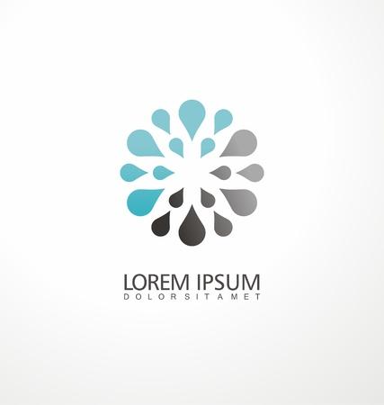 Creatief logo ontwerpconcept gemaakt van waterdruppels. Symmetrische symboollay-out.