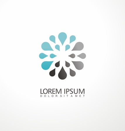 Creative logo design concept made from water drops. Symmetric symbol layout. Ilustração