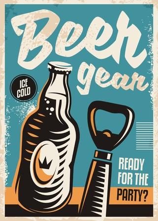 Beer bottle and beer opener retro poster design