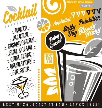 Cocktail bar menu list with most popular cocktails around the world Illustration