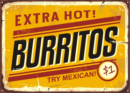 Burritos vintage metal promotional sign Иллюстрация