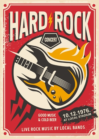 Rock music concert retro pamphlet with electric guitar and flame Ilustração
