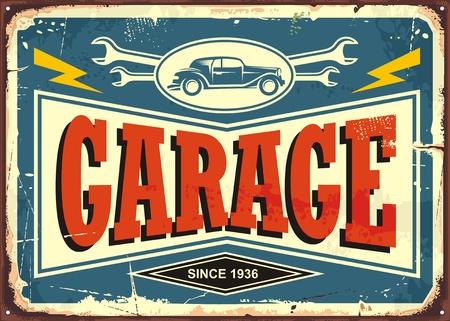 車のイメージとレンチツールでヴィンテージガレージサイン